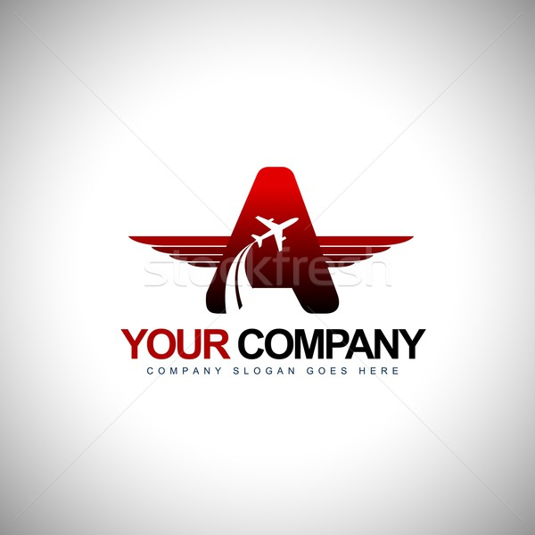 Repülőgép logoterv repülőgép logo szárnyak kitűző Stock fotó © twindesigner