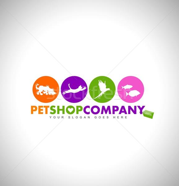 ПЭТ магазин логотип дизайна животные иконки Сток-фото © twindesigner