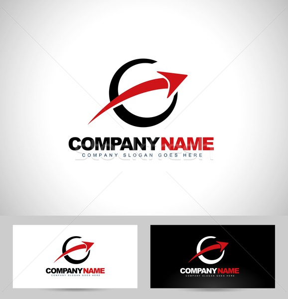 стрелка логотип дизайн логотипа круга визитной карточкой шаблон Сток-фото © twindesigner