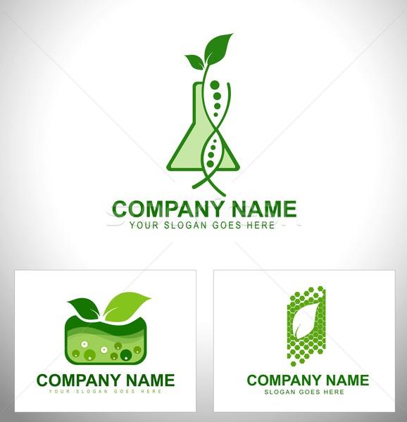 растений логотип генетический инженерных дизайна Сток-фото © twindesigner