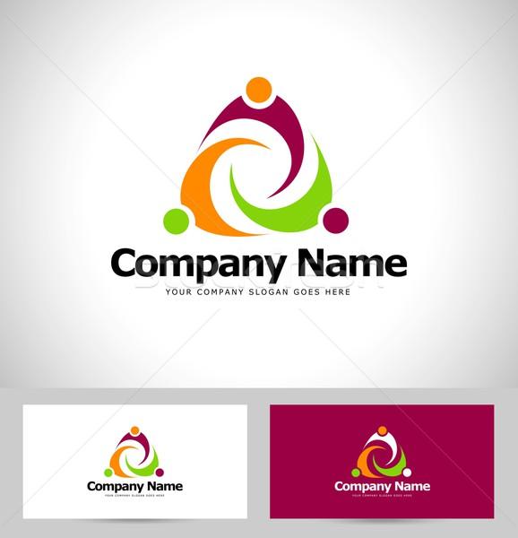 Personnes résumé conception de logo Creative logo Photo stock © twindesigner