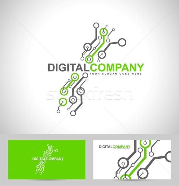 цифровой электроника логотип дизайн логотипа Creative электронных Сток-фото © twindesigner