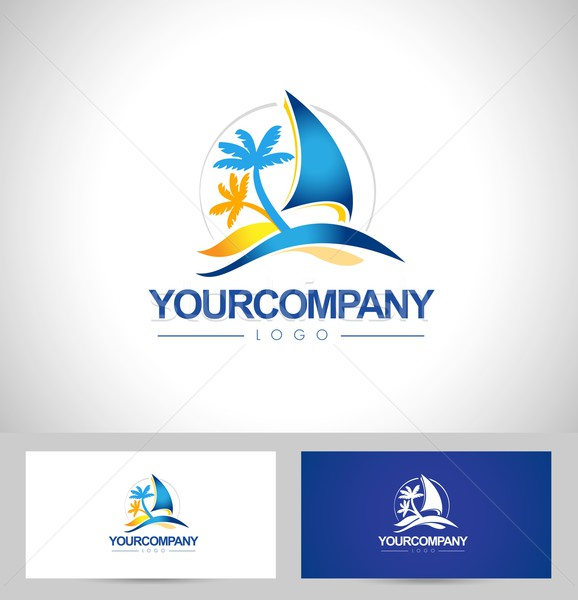 Bateau yacht conception de logo logo voile mer Photo stock © twindesigner