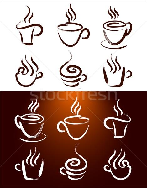 Tasse de café Creative résumé tasses de café chaud Photo stock © twindesigner