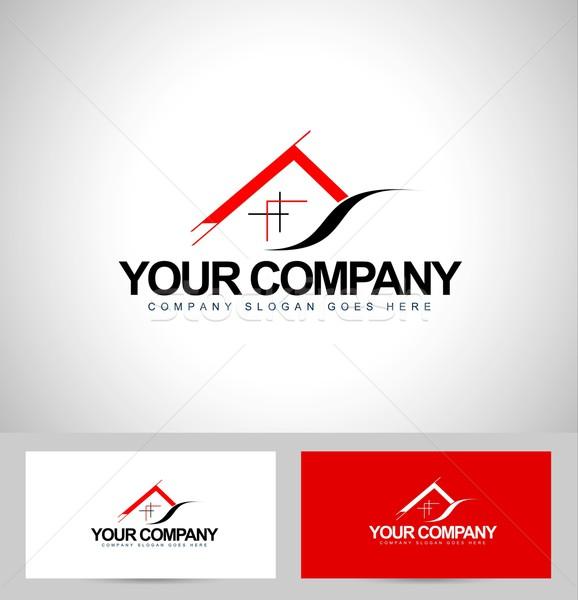 Maison conception de logo architecture carte de visite icône Photo stock © twindesigner
