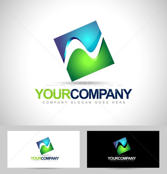 Carré logo Creative vecteur carte de visite Photo stock © twindesigner