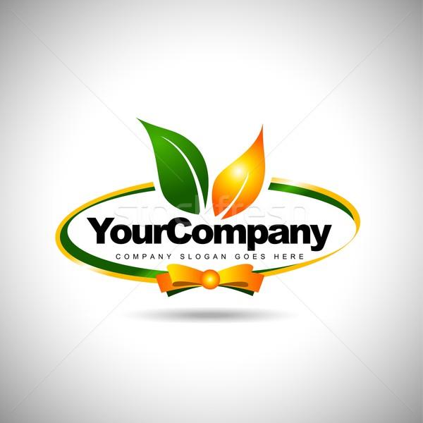 Feuille étiquette logo alimentaire société icône Photo stock © twindesigner
