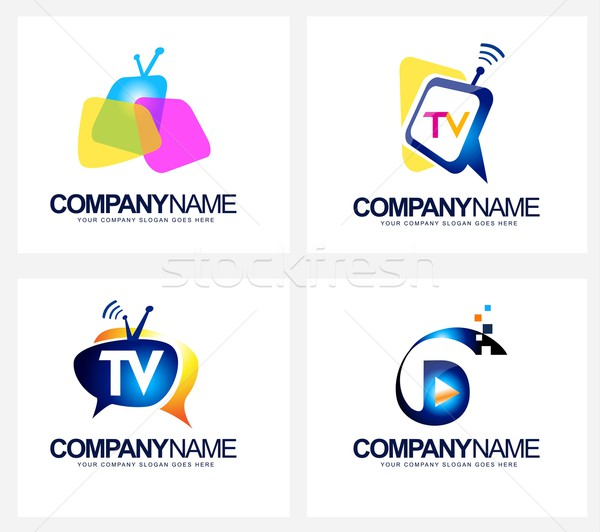 Tv diffuser logo Creative vecteur icône Photo stock © twindesigner