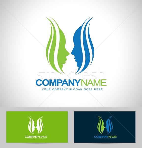 Fleur visages conception de logo logo vecteur Creative Photo stock © twindesigner