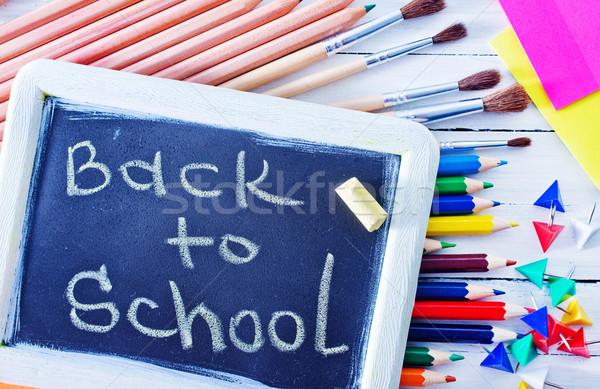 Okul malzemeleri kâğıt kitap okul eğitim bilim Stok fotoğraf © tycoon