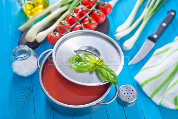 Zdjęcia stock: Zupa · pomidorowa · tekstury · żywności · drewna · obiedzie · czerwony