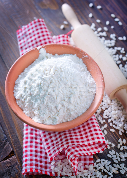 Mąka ryżu biały gotowania łyżka ziarna Zdjęcia stock © tycoon