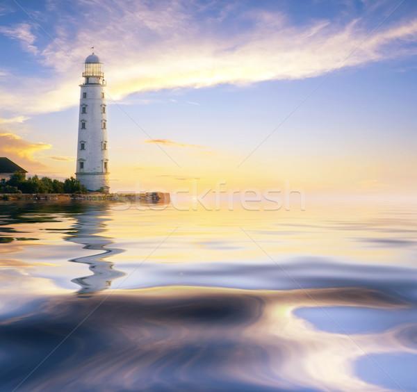 Stok fotoğraf: Deniz · feneri · gökyüzü · ev · güneş · doğa · ışık
