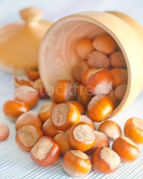Mogyoró étel természet háttér kagyló klasszikus Stock fotó © tycoon