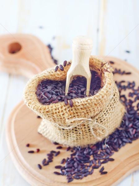 Zwarte rijst gezondheid diner plaat shell Stockfoto © tycoon