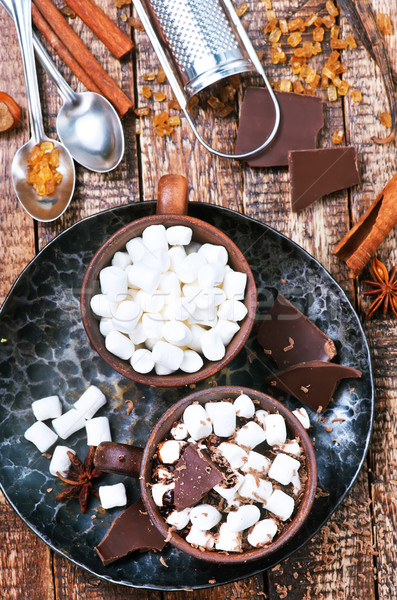 Chocolate quente copo tabela chocolate fundo leite Foto stock © tycoon