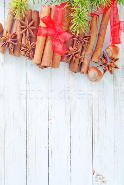 корицей анис фрукты фон оранжевый звездой Сток-фото © tycoon