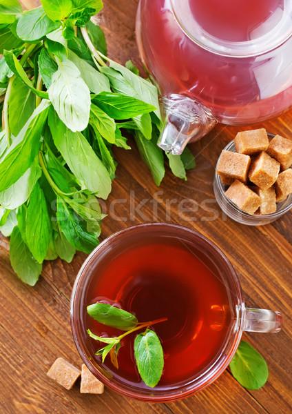 ミント 茶 ガラス カップ 表 背景 ストックフォト © tycoon