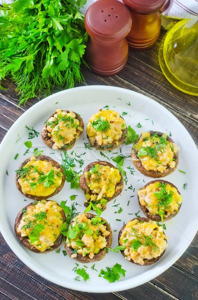 Foto stock: Setas · queso · cocina · cena · placa · almuerzo