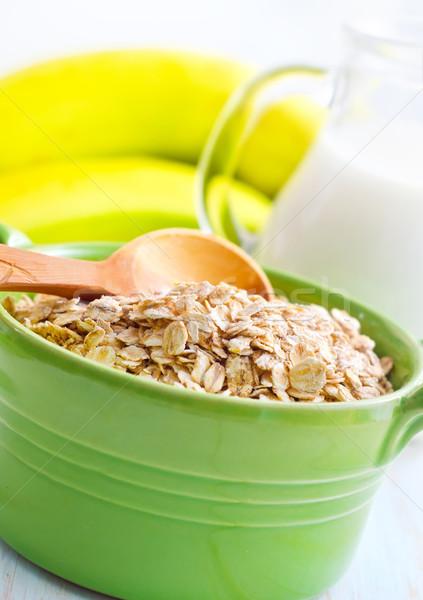 Haver groene kom banaan melk Stockfoto © tycoon