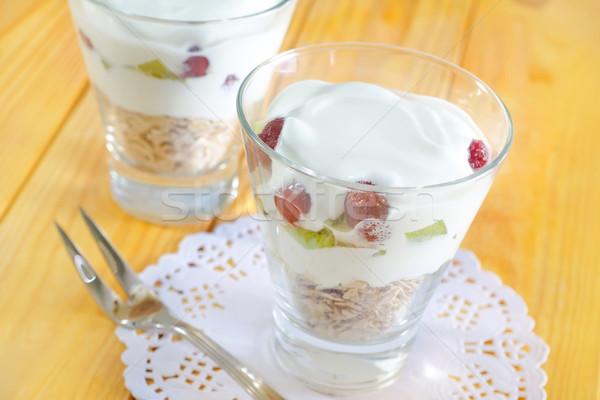 Zab pelyhek joghurt üveg tányér reggeli Stock fotó © tycoon
