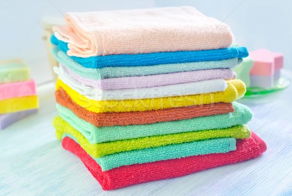 Assortiment savon serviettes beauté bleu groupe Photo stock © tycoon