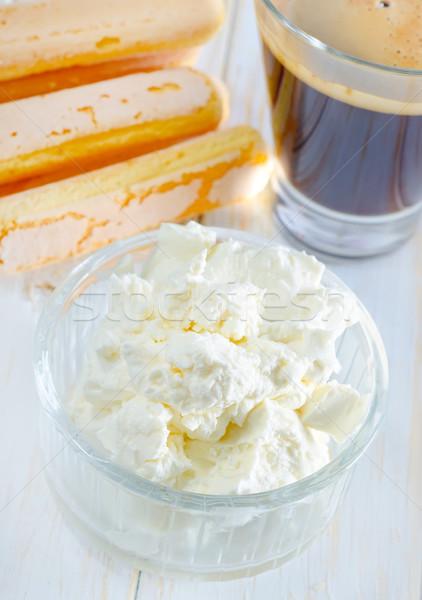 Hozzávalók tiramisu étel üveg tojás torta Stock fotó © tycoon