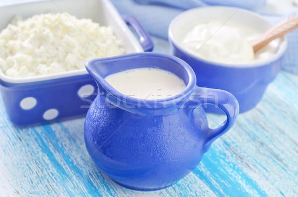 Crema agria alimentos salud azul queso placa Foto stock © tycoon