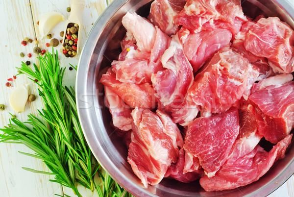Crudo carne alimentos mesa cena rojo Foto stock © tycoon