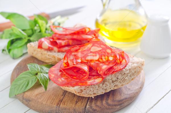 Foto d'archivio: Pane · salame · legno · piatto · carne · grasso