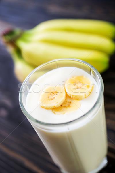 Banana yogurt vetro tavola foglia verde Foto d'archivio © tycoon