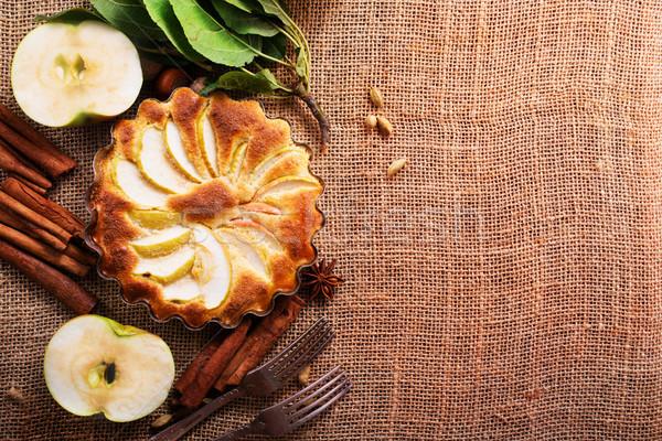 Appeltaart kaneel tabel voedsel vruchten cake Stockfoto © tycoon