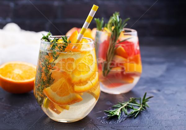 Stockfoto: Drinken · citrus · grapefruit · rosmarijn · gin · cocktail