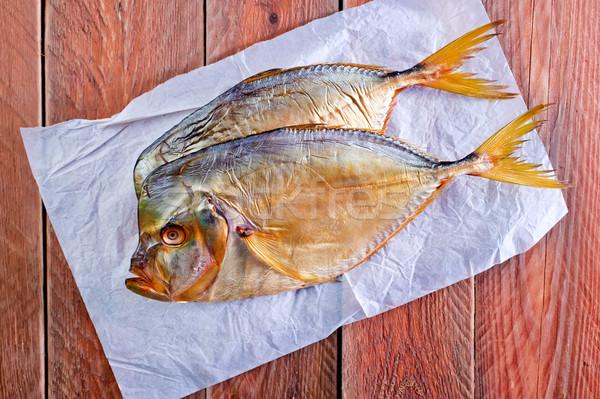 Gerookt vis houten tafel hout achtergrond diner Stockfoto © tycoon