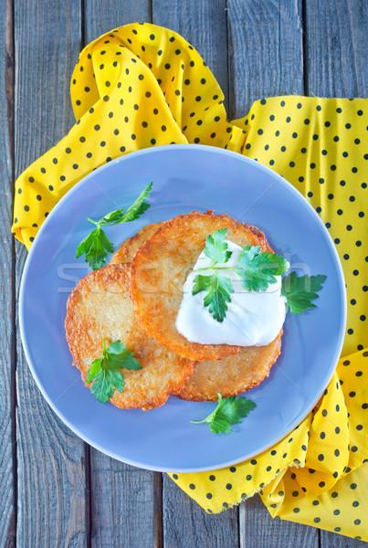 Aardappel pannenkoeken room tabel voedsel keuken Stockfoto © tycoon