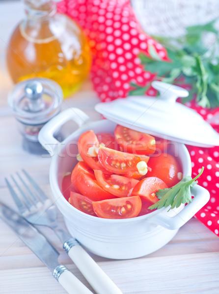 Stock fotó: Paradicsom · saláta · salátástál · asztal · fa · levél