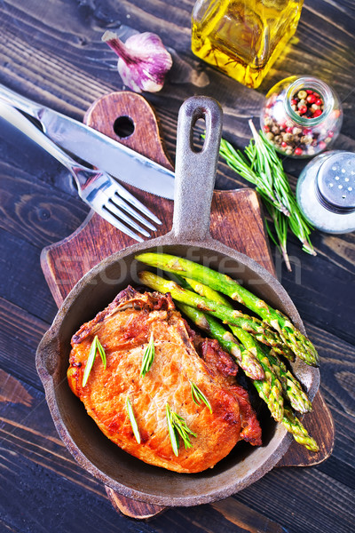 Frit viande asperges pan alimentaire bois Photo stock © tycoon