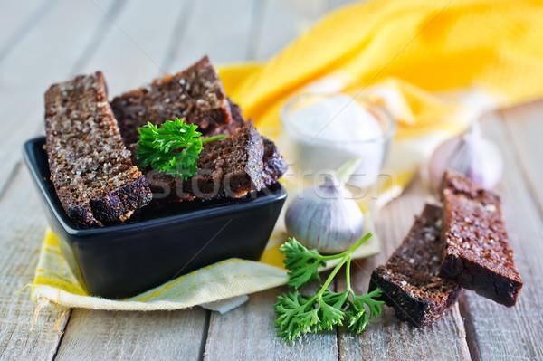 Só fokhagyma fekete tál kenyér ital Stock fotó © tycoon