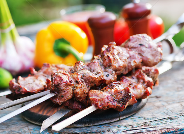 Kebab ruw groenten tabel tuin voedsel Stockfoto © tycoon