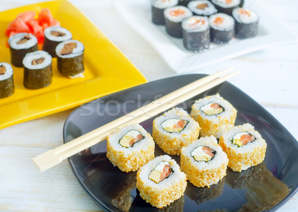 Sushis alimentaire orange vert dîner rouge Photo stock © tycoon