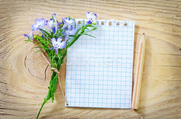 Uwaga kwiaty kwiat papieru drewna dar Zdjęcia stock © tycoon