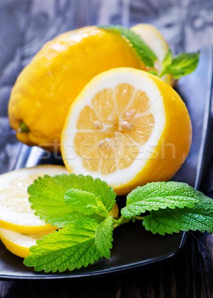 Stock fotó: Friss · citrom · menta · tányér · étel · levél