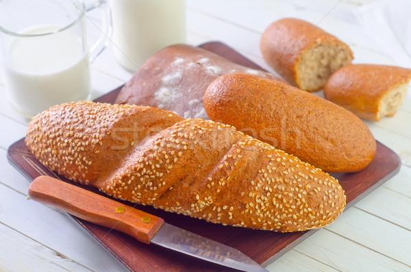 Stok fotoğraf: Ekmek · süt · doğa · cam · tablo · grup