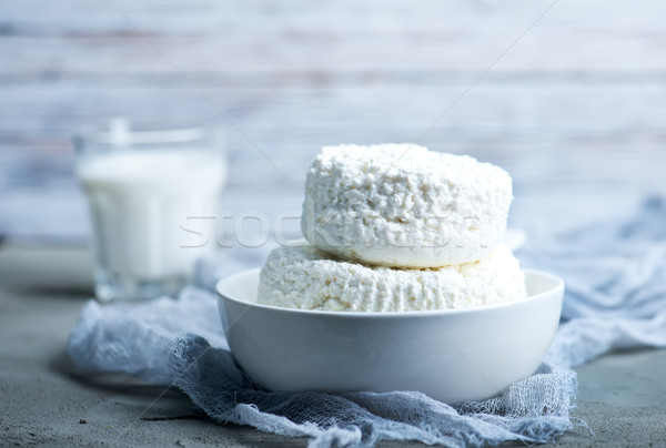 Fromage cottage plaque table alimentaire feuille verre Photo stock © tycoon