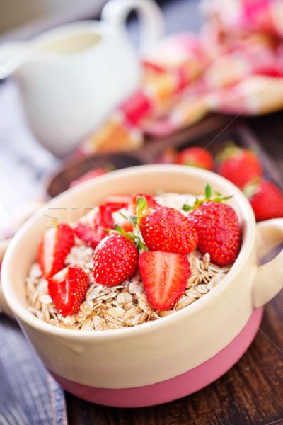 Owies truskawki puchar kwiaty zdrowia Zdjęcia stock © tycoon