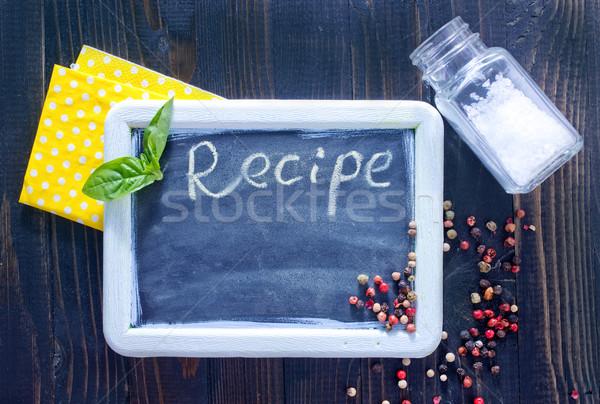 Bord recette design cuisine espace bar Photo stock © tycoon