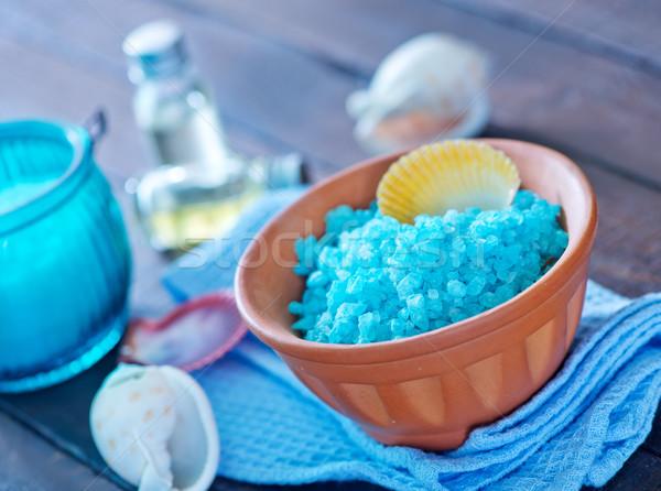 Deniz tuzu sabun ahşap masa bahar vücut güzellik Stok fotoğraf © tycoon