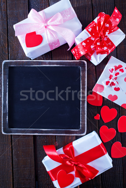 Cases présents ruban table mariage amour Photo stock © tycoon