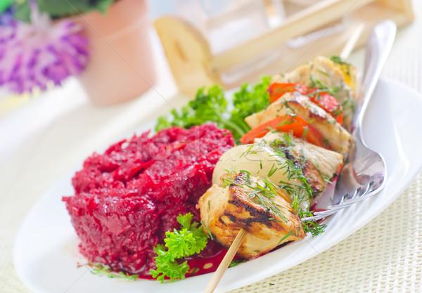 Quibe comida frango folhas vermelho prato Foto stock © tycoon