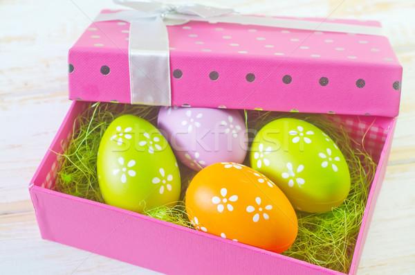 Húsvéti tojások húsvét virág boldog tojás doboz Stock fotó © tycoon
